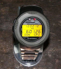 Timex Datalink Beepwear Pro: a wearable pager/watch featuring alphanumeric paging capability. Part of the Timex Datalink family of watches