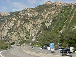 US 101 northbound approaching Gaviota Tunnel through the Santa Ynez Mountains