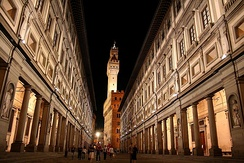 The Uffizi Gallery, the most visited museum in Italy. View of the Palazzo Vecchio, in Florence.