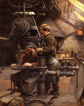 Manufacturing is an economically productive occupation for skilled-labour worker in a stratified society. (Un patron, by Jean-Eugène Buland.)
