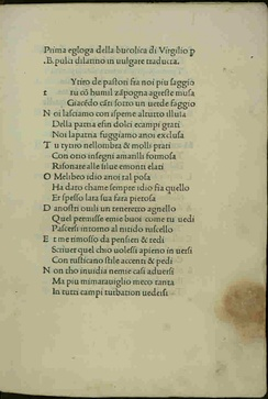 First page of an Italian translation of Eclogue 1, AD 1481