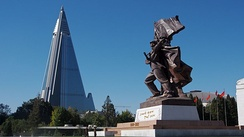 Ryugyong Hotel and part of the Monument to the Victorious Fatherland Liberation War