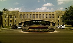 Torgersen Hall bridge over Alumni Mall is an example of architecture using Hokie Stone.