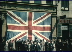 Large Union flag in Copenhagen after the liberation of Denmark (May 1945)