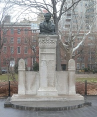Washington Square Park's Alexander Holley monument, where Corie finds drunken Paul late in the film.