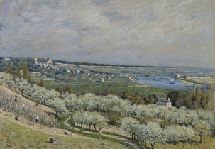 Alfred Sisley, The Terrace at Saint-Germain, Spring (1875) in the Walters Art Museum gives a panoramic view of the Seine river valley.