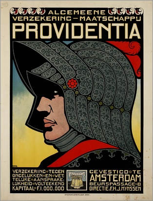An advertising poster for a Dutch insurance company from c. 1900–1918 depicts an armoured knight.