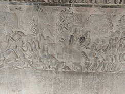"Rhino tormenting the damned in the ""heaven and hell"" gallery at Angkor Wat (12th century)"