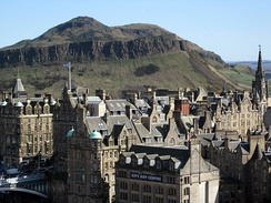 Edinburgh, showing Arthur's Seat, one of the earliest known sites of human habitation in the area