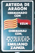 Road sign of Artieda de Aragón and Emiliano Zapata, an autonomous Zapatista municipality.