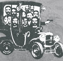 Caricature of the Bonnot gang, the most famous of the French illegalist groups
