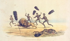Africans hunting the lion, 1841