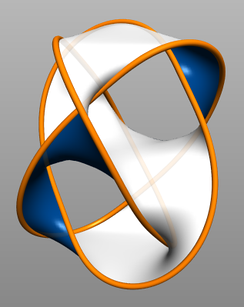 A Seifert surface bounded by a set of Borromean rings.