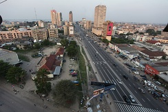The Boulevard du 30 Juin provides an artery to the business district in Gombe, Kinshasa.