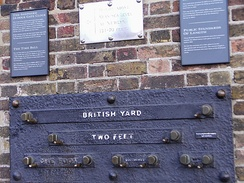 Yard, foot and inch measurements at the Royal Observatory, London. The British public commonly measure distance in miles and yards, height in feet and inches, weight in stone and pounds, speed in miles per hour.