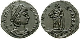 This coin shows Flavia Maximiana Theodora, Constantius' second wife, with the goddess Pietas on the reverse.