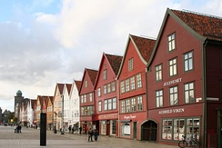 Bryggen in Bergen, once the center of trade in Norway under the Hanseatic League trade network, now preserved as a World Heritage Site