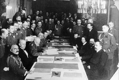 The signing of the Treaty of Brest-Litovsk