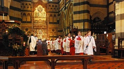 The choir in procession at a service at St Paul's Cathedral, Melbourne.