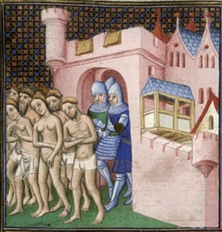 The Cathars being expelled from Carcassonne in 1209. The Cathars were denounced as heretics by the Roman Catholic Church for their dualist beliefs.