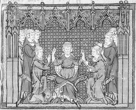 Charles Martel divides the realm between Pepin and Carloman (Grandes Chroniques de France - Bibliothèque Nationale)