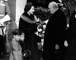 Churchill with Queen Elizabeth II, Prince Charles and Princess Anne, 10 February 1953.