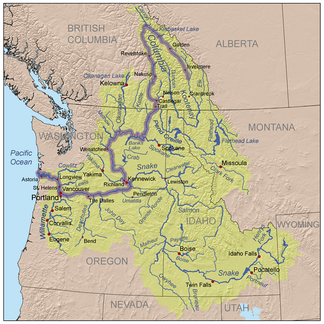 Map of the Columbia River and its tributaries, showing modern political boundaries and cities.