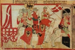 The victorious Battle of Cortenuova against the 2nd Lombard League (1237), Nuova Cronica (c. 1348).