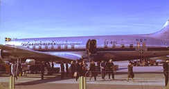 Passengers disembarking from a SAS DC-6
