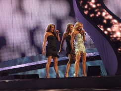 Charlotte Perrelli, the 2008 winner of Melodifestivalen, performing on Eurovision song contest in Belgrade