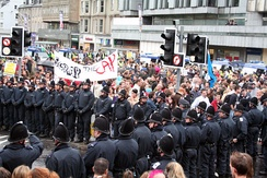 Anti-globalization protests in Edinburgh during the start of the 31st G8 summit.