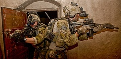 Army Rangers take part in a raid during operation in Nahr-e Saraj, Afghanistan