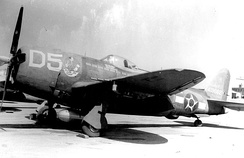 "1º GAC P-47s carried the ""Senta a Pua!"" emblem as nose art along with the national insignia of Brazil."