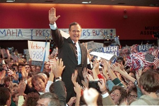 Bush's largely socially conservative rhetoric garnered him much support among social-conservatives nationwide. Seen here at campaign rally in Omaha, Nebraska.