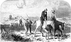 En route to Oregon with Joseph Meek, as depicted in Frances Fuller Victor's 1877 book Eleven years in the Rocky Mountains and a life on the frontier.