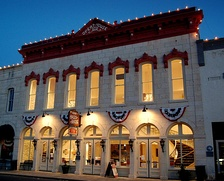 The restored Granbury Opera House adorned with patriotic decorations during the 2014 Fourth of July festival