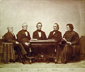 Five Harvard University Presidents sitting in order of when they served (from left to right): Josiah Quincy III, Edward Everett, Jared Sparks, James Walker and Cornelius Conway Felton