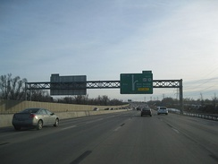 Approaching exit 54 on I-90 westbound in West Seneca, New York