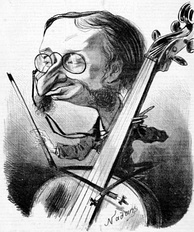 The composer-cellist caricatured