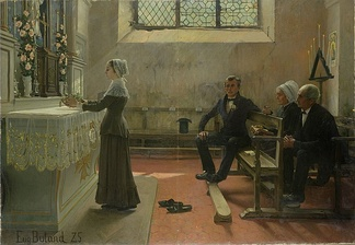 Conspicuous leisure: The devout observance of religious ritual is an activity for the leisure-class woman. (L'offrande, by Jean-Eugène Buland, 1885.)