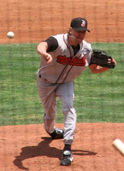 Weaver pitching for the Nashville Sounds, Triple-A affiliates of the Milwaukee Brewers, in 2008.