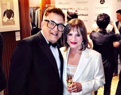 LuPone with artist Ken Fallin at The Wall Street Journal's Tony Awards party, which LuPone hosted and at which Fallin's work was auctioned for charity