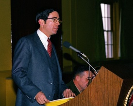 Lt. Governor Robb speaks to guests at a luncheon during the Virginia General Assembly's tour of Marine Corps Base Quantico on February 1, 1981.