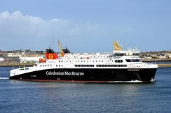 A Calmac ferry departing Stornoway
