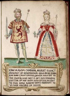 Malcolm and Margaret as depicted in a 16th-century armorial. Anachronistically, Malcolm's surcoat is embroidered with the royal arms of Scotland, which probably did not come into use until the time of William the Lion. Margaret's kirtle displays the attributed arms of her great-uncle Edward the Confessor, which were in fact invented in the 13th century, though they were based on a design which appeared on coins from his reign