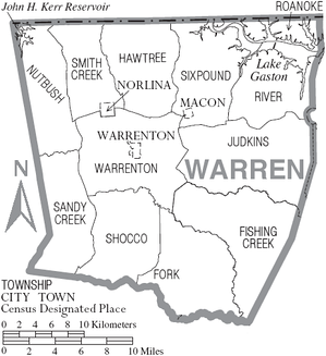 Map of Warren County showing municipalities and townships