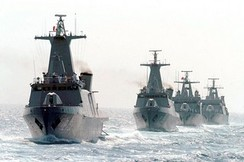 Durango-class offshore patrol vessels in formation.