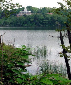 Marlborough District Courthouse, seen from across Lake Williams