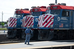 Metra F40PH locomotives at the Waukegan Station.
