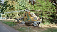 An Iraqi Mil Mi-24 on display at the military museum of Sa'dabad Palace in Iran